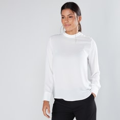 Embellished High Neck Shell Top with Long Sleeves