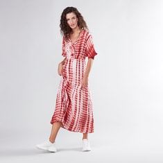 Printed A-line Maxi Dress with Knot Detail and Short Sleeves