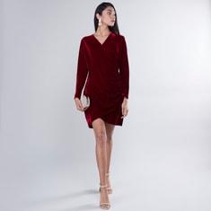 Ruched V-Neck Velvet Textured Dress with Long Sleeves