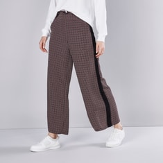 Printed Mid Rise Palazzo Pants with Tape Detail