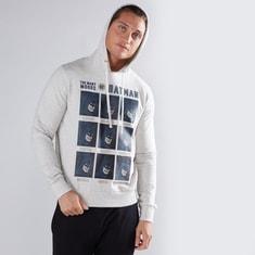 Batman Printed Sweatshirt with Long Sleeves and Hood