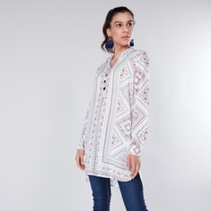 Printed Collared Tunic with Long Sleeves
