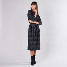 Printed Midi A-line Dress with 3/4 Sleeves and Tie Ups