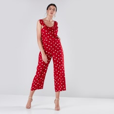 Polka Dot Printed Jumpsuit with Pocket and Ruffle Detail