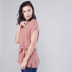 Textured Sweater with High Neck and Tie Ups