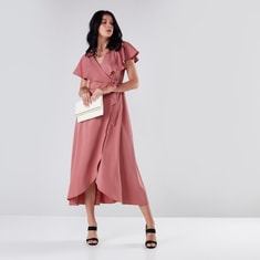 Asymmetric Wrap Dress with Ruffle Detail and Cap Sleeves