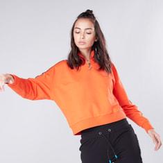 Tape Detail Sweatshirt with Long Sleeves and Zip Closure