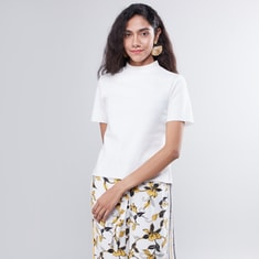 Solid High Neck Top with Short Sleeves