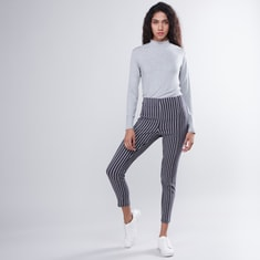 Striped Mid Rise Ankle Length Pants