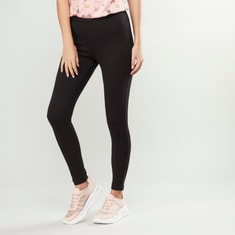 Solid Slim Fit Leggings with Elasticated Waistband