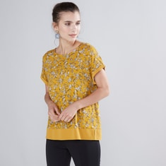 Floral Printed Top with Round Neck and Short Sleeves