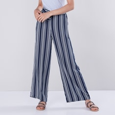 Striped Palazzos with Pocket Detail