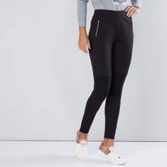Zip Detail Mid-Rise Jeggings with Elasticised Waistband