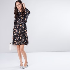 Floral Printed Dress with Round Neck and Flared Sleeves