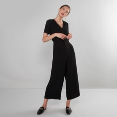 Solid V-neck Cropped Jumpsuit with Short Sleeves