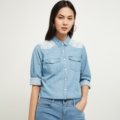 MAX Denim Shirt with Floral Lace Panel