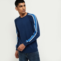 MAX Striped Full Sleeves Crew Neck T-shirt