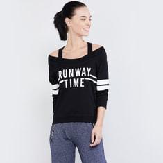 MAX Typographic Print Cold-Shoulder Sweatshirt