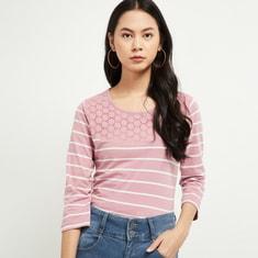MAX Schiffli Embroidery Striped T-shirt