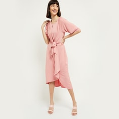MAX Solid Sheath Dress with Sash Tie-Up