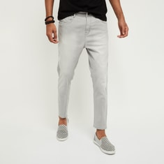 MAX Stonewashed Distressed Carrot Fit Jeans