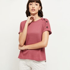 MAX Ribbed Extended Sleeves Top with Button Detail