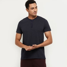 MAX Striped Henley Neck Lounge T-shirt