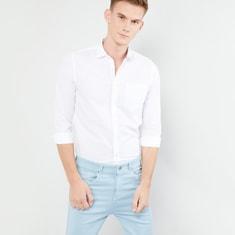 MAX Solid Full Sleeves Sim Fit Shirt