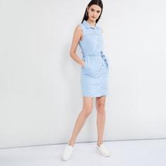 MAX Solid Denim Sleeveless Dress