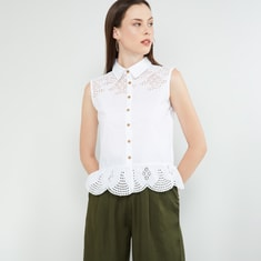 MAX Scalloped Sleeveless Shirt with Laser Cut-outs