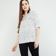 MAX Printed Rolled-Up Sleeves Top
