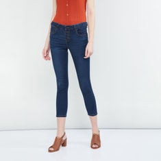 MAX Stonewashed Slim Fit Cropped Jeans