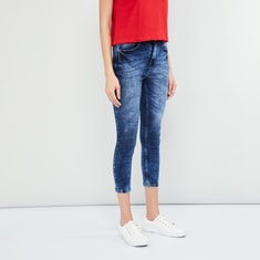 MAX Acid Washed Skinny Fit Cropped Jeans