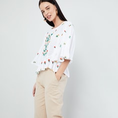 MAX Floral Embroidered Kaftan Sleeves Top