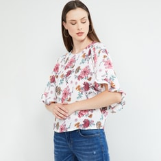 MAX Dolma Sleeves Floral Print Top