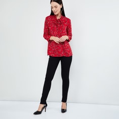 MAX Floral Print Top with Sash Tie-Up