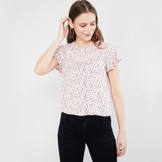 MAX Flutter Sleeves Polka-Dot Print Top