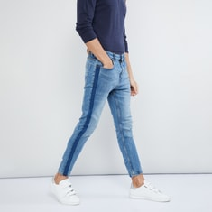 MAX Stonewashed Panelled Detail Low Rise Jeans
