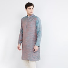MAX Jacquard Patterned Band Collar Kurta