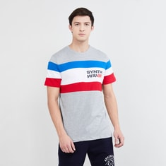 MAX Typographic Print Colourblock Crew-Neck T-shirt