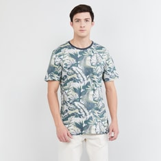 MAX Tropical Print Crew-Neck T-shirt