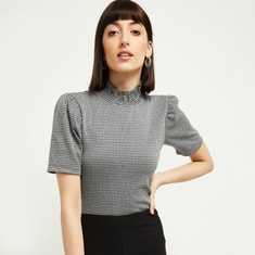 MAX Houndstooth Pattern High-Neck Top