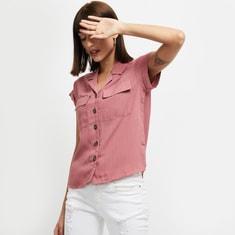 MAX Solid Cap Sleeves Casual Shirt