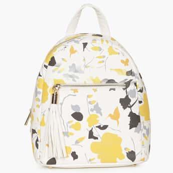 GINGER Floral Printed Tassel Trim Backpack