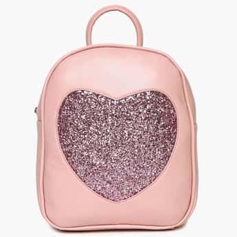 GINGER Shimmery Detail Zip Closure Backpack