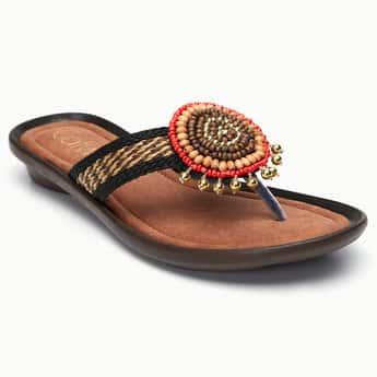 CATWALK Beaded Woven Strap Sandals