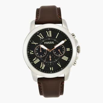 FOSSIL Men Chronograph Watch with Leather Strap