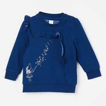 FS MINI KLUB Printed Ruffle Panelled Sweater