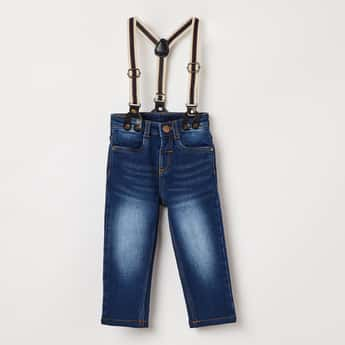 JUNIORS Stonewashed Jeans with Suspenders