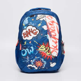 SKY BAGS Graphic Print Backpack with Zip Closure